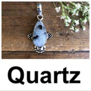 Quartz pendant on Black Cord